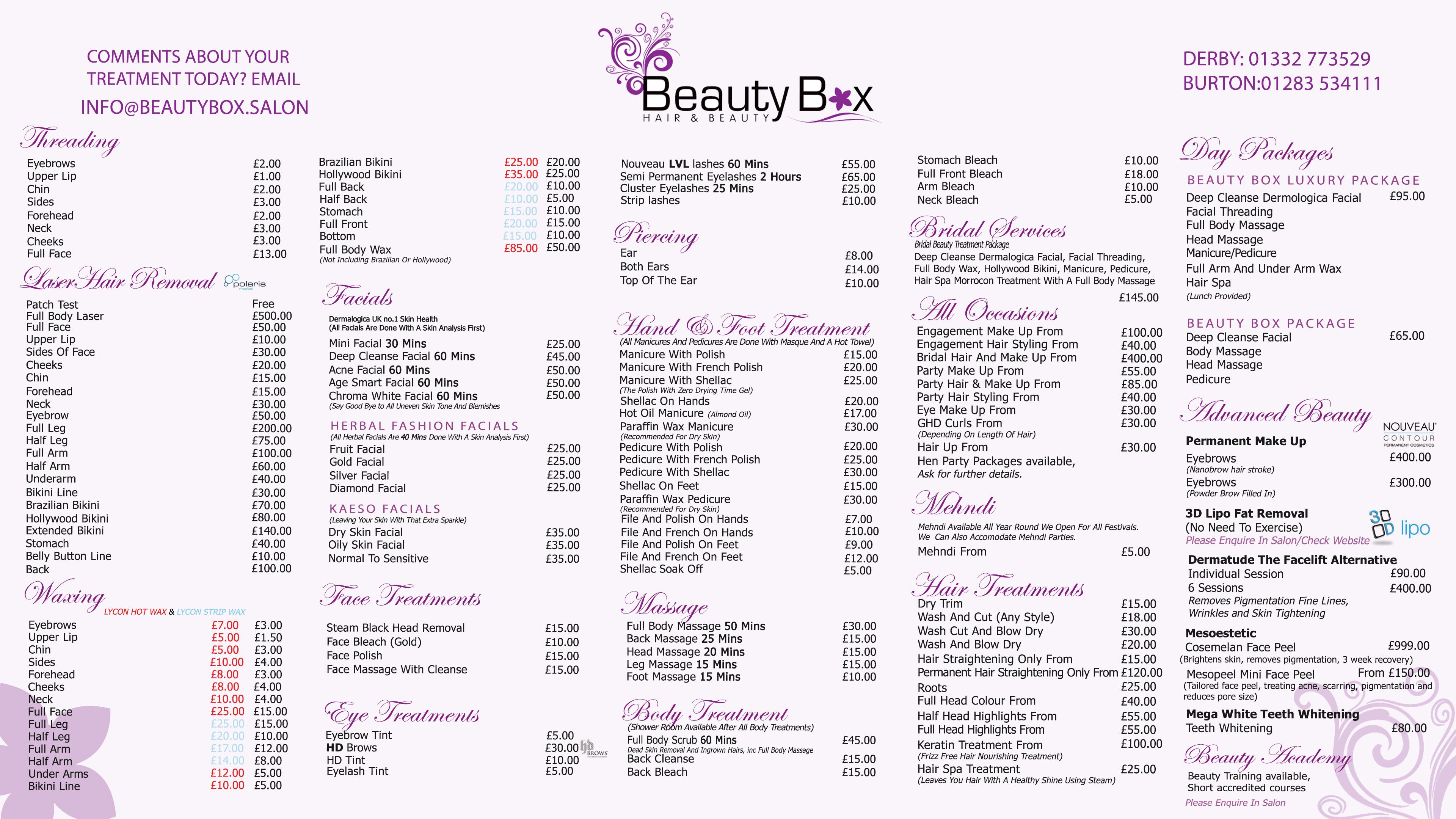 Price List – Beauty Box